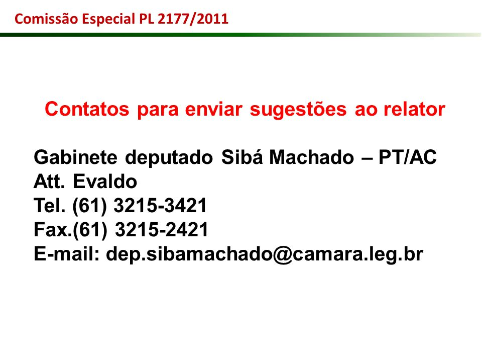 Contatos para enviar sugestões ao relator