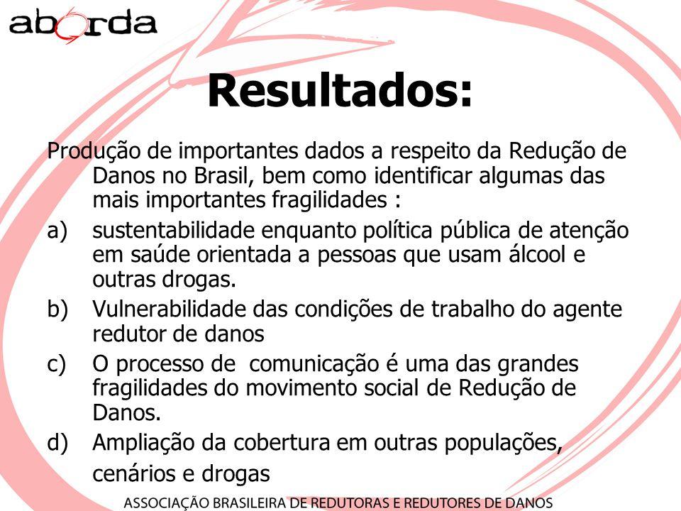 Resultados: Produção de importantes dados a respeito da Redução de Danos no Brasil, bem como identificar algumas das mais importantes fragilidades :