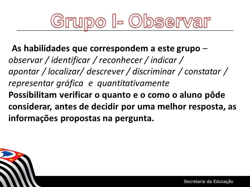 Grupo I- Observar As habilidades que correspondem a este grupo – observar / identificar / reconhecer / indicar /