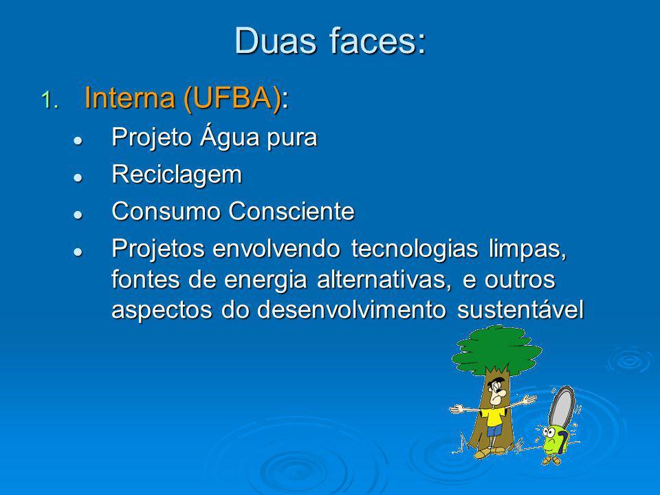 Duas faces: Interna (UFBA): Projeto Água pura Reciclagem