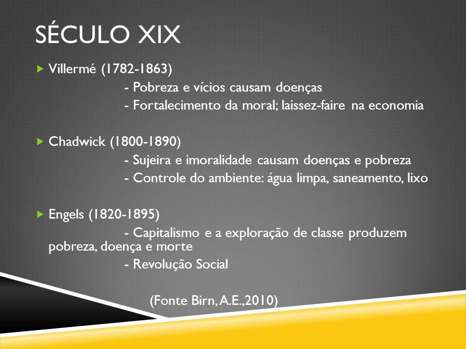 século XIX Villermé (1782-1863) - Pobreza e vícios causam doenças