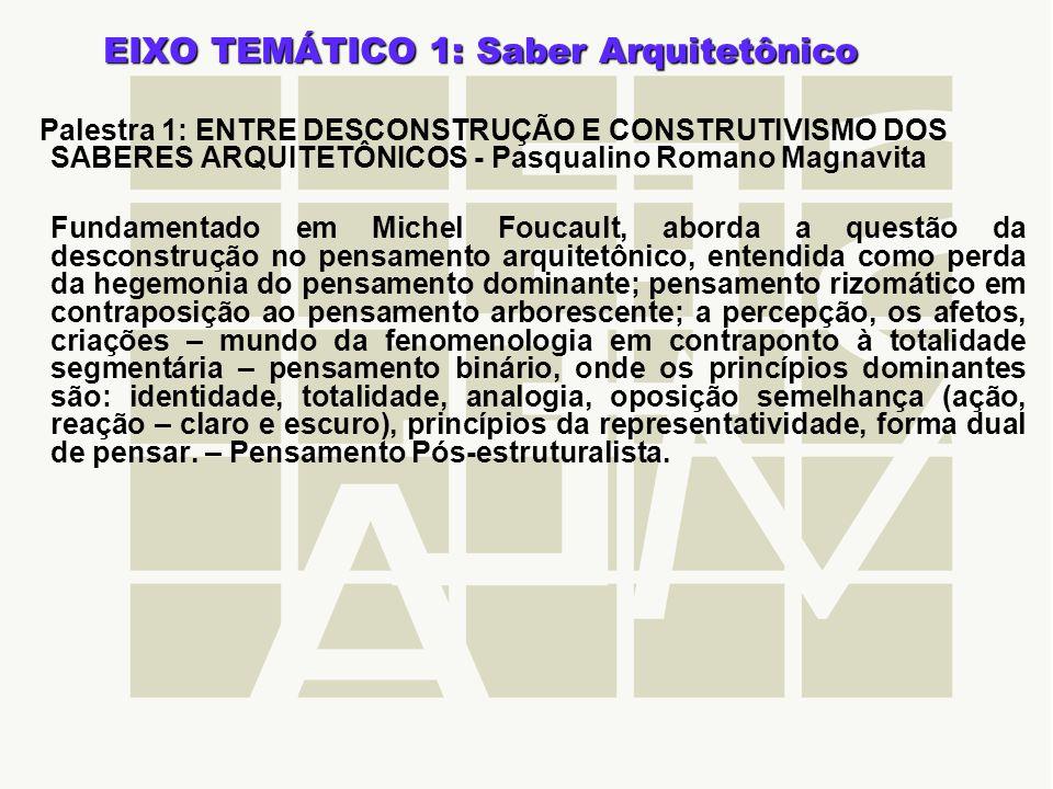 EIXO TEMÁTICO 1: Saber Arquitetônico