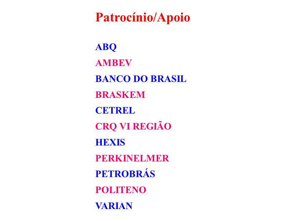 Patrocínio/Apoio ABQ AMBEV BANCO DO BRASIL BRASKEM CETREL