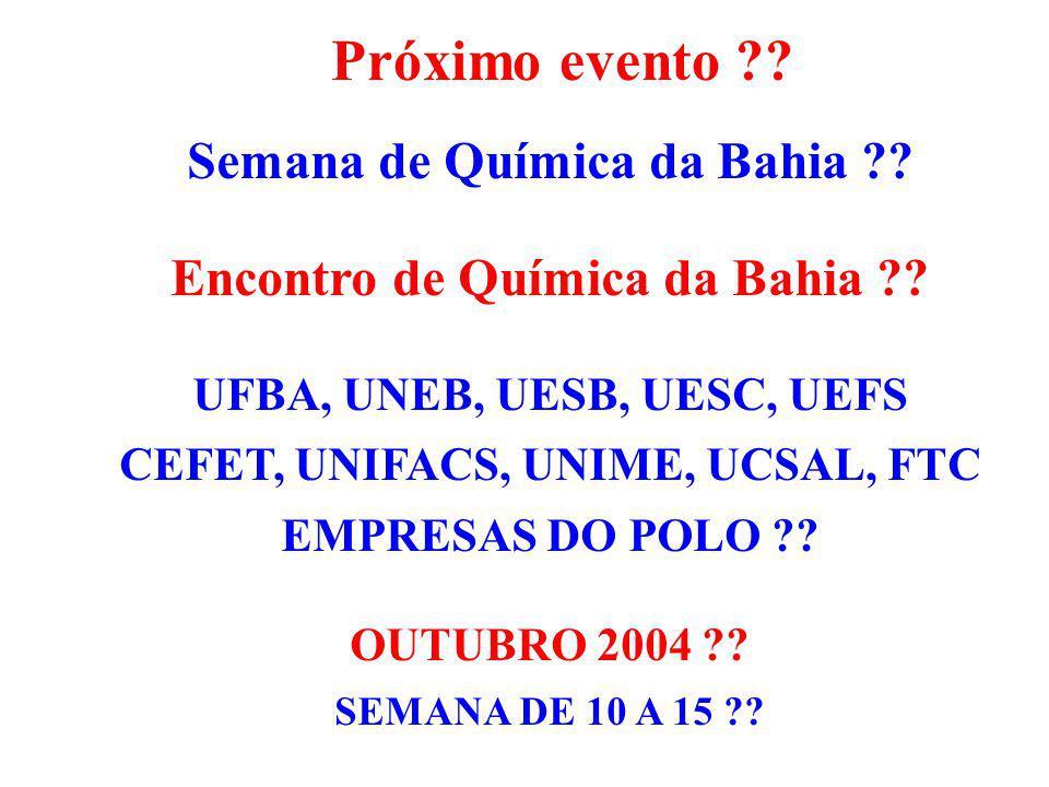 Próximo evento Semana de Química da Bahia