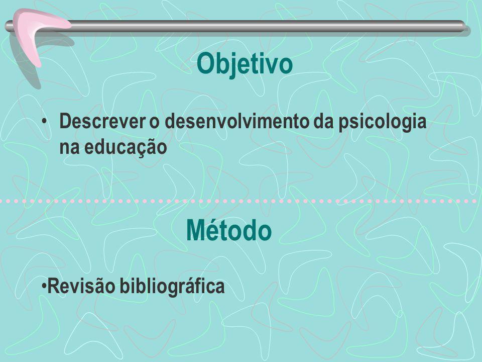 Objetivo Método Descrever o desenvolvimento da psicologia na educação