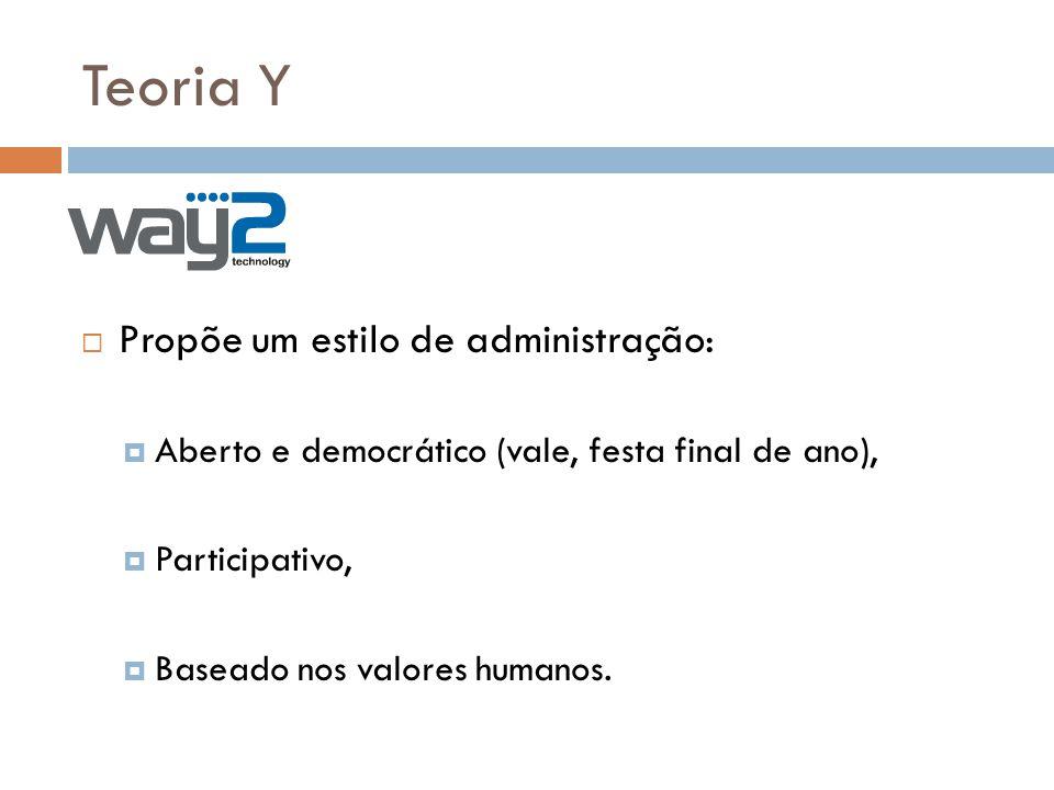 Teoria Y Propõe um estilo de administração: