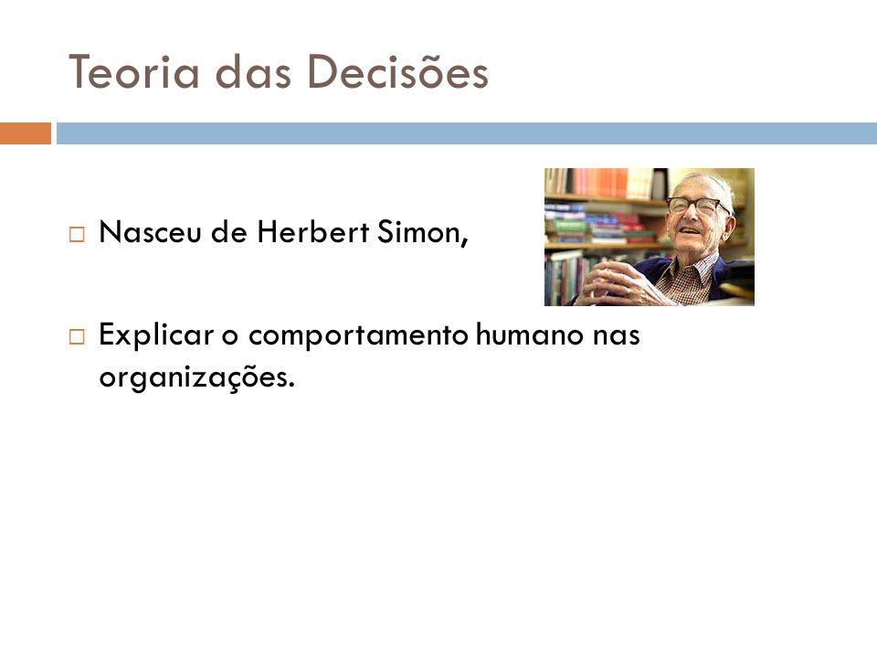 Teoria das Decisões Nasceu de Herbert Simon,