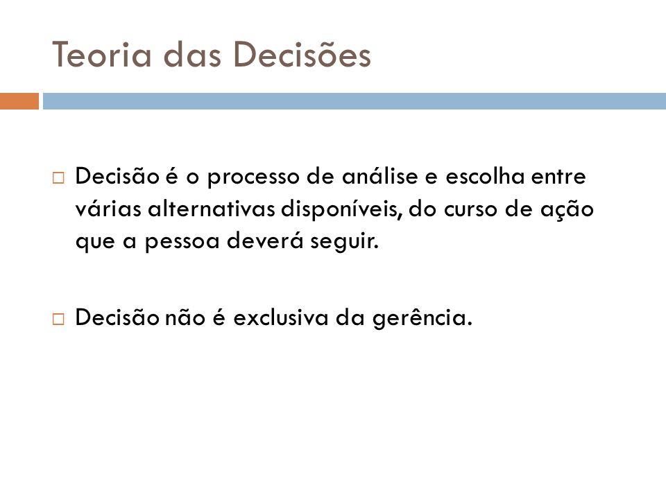 Teoria das Decisões Decisão é o processo de análise e escolha entre várias alternativas disponíveis, do curso de ação que a pessoa deverá seguir.