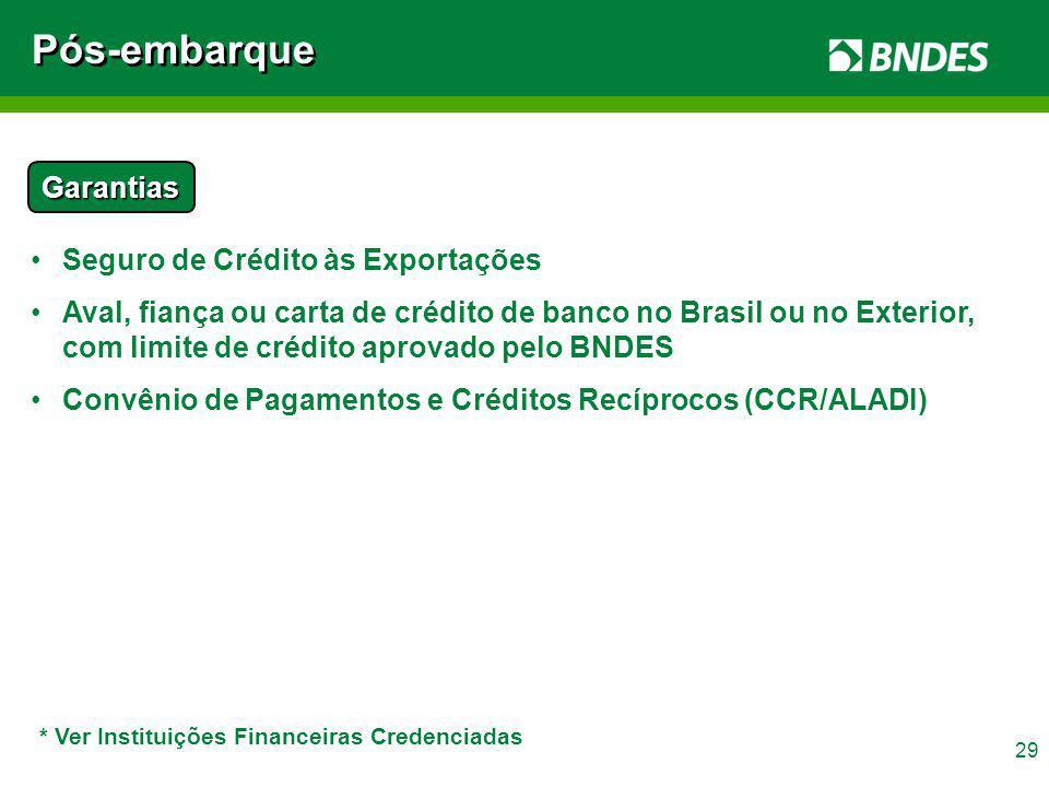 Pós-embarque Garantias Seguro de Crédito às Exportações