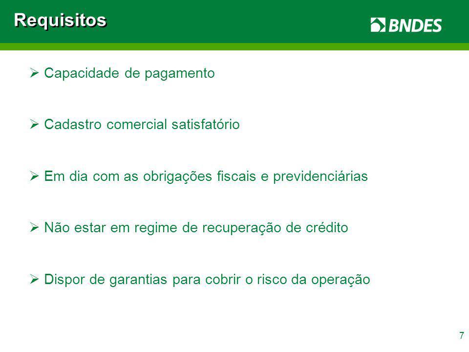 Requisitos Capacidade de pagamento Cadastro comercial satisfatório
