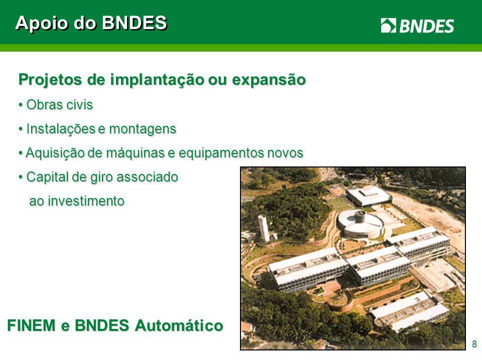 Apoio do BNDES Projetos de implantação ou expansão