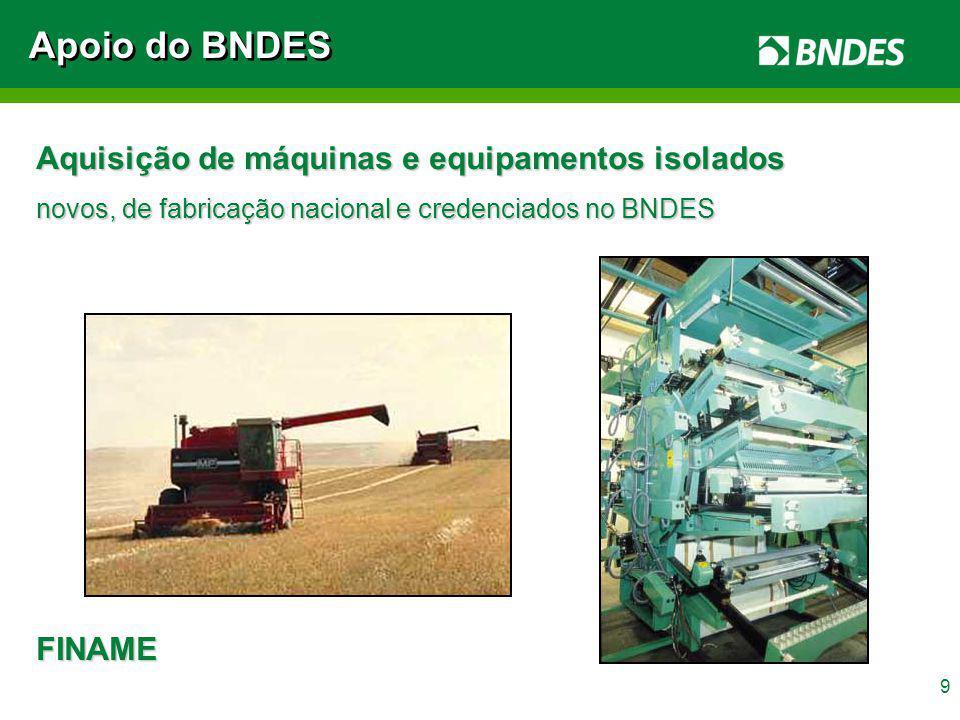 Apoio do BNDES Aquisição de máquinas e equipamentos isolados FINAME