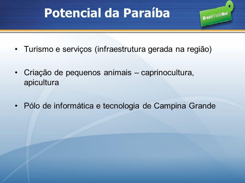 Potencial da Paraíba Turismo e serviços (infraestrutura gerada na região) Criação de pequenos animais – caprinocultura, apicultura.