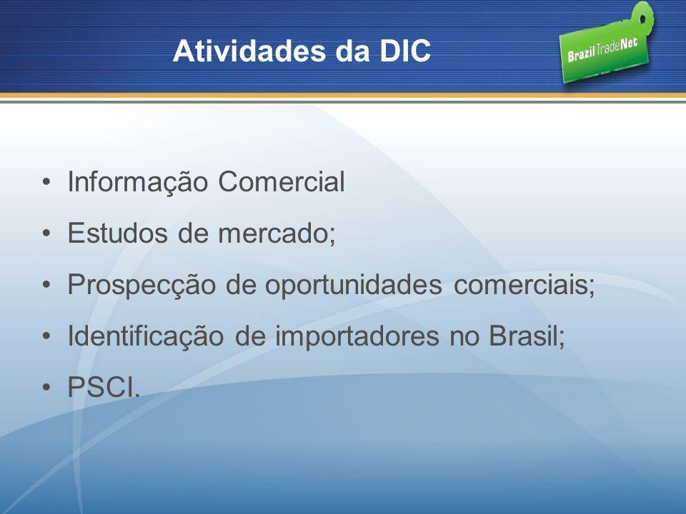 Atividades da DIC Informação Comercial Estudos de mercado;