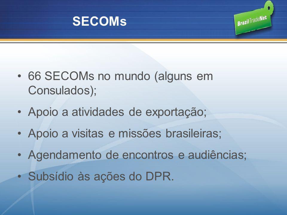 SECOMs 66 SECOMs no mundo (alguns em Consulados);