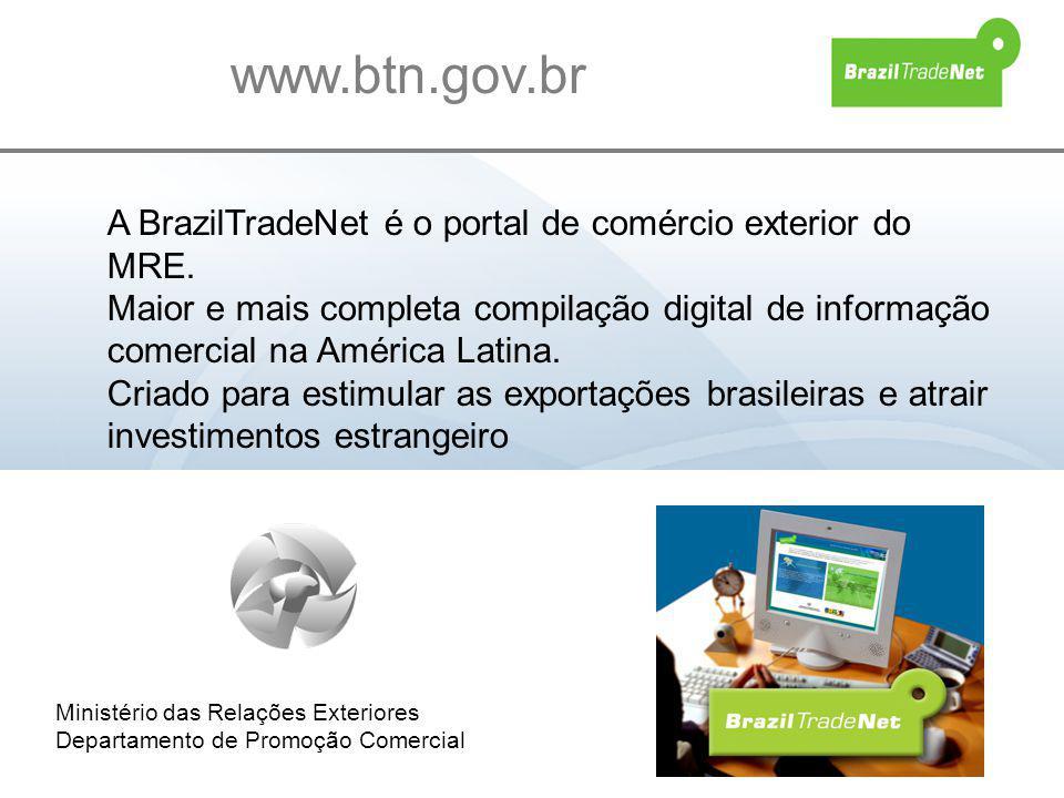 www.btn.gov.br A BrazilTradeNet é o portal de comércio exterior do MRE.