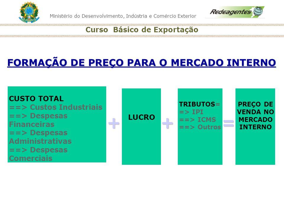 + + = FORMAÇÃO DE PREÇO PARA O MERCADO INTERNO CUSTO TOTAL