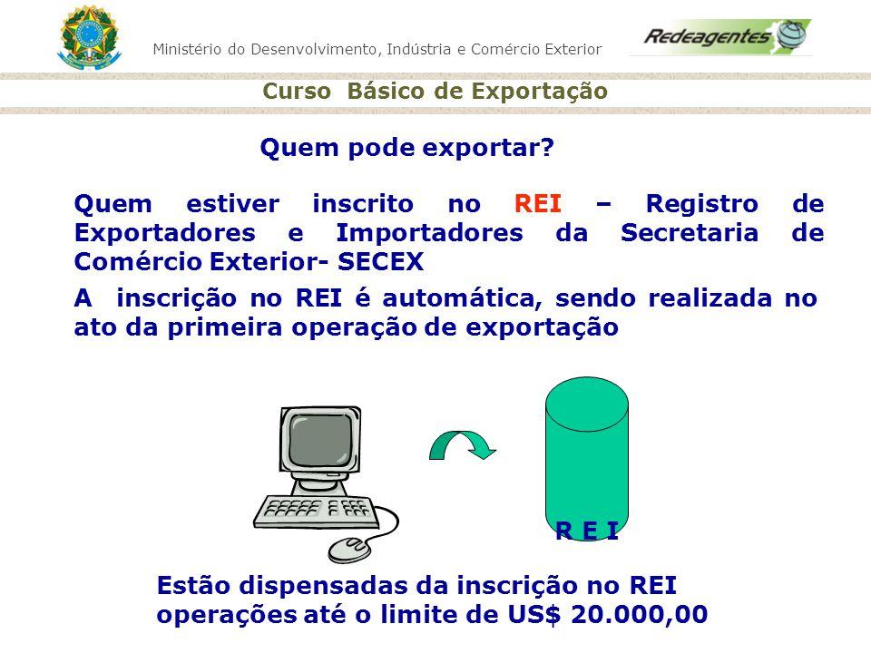 Quem pode exportar Quem estiver inscrito no REI – Registro de Exportadores e Importadores da Secretaria de Comércio Exterior- SECEX.