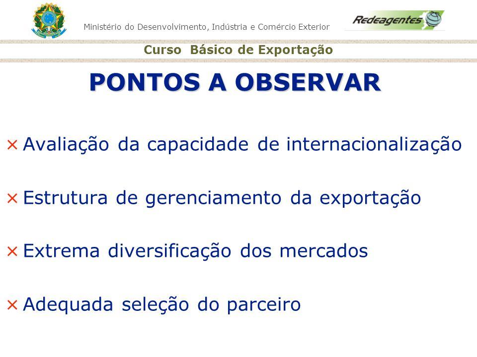PONTOS A OBSERVAR Avaliação da capacidade de internacionalização
