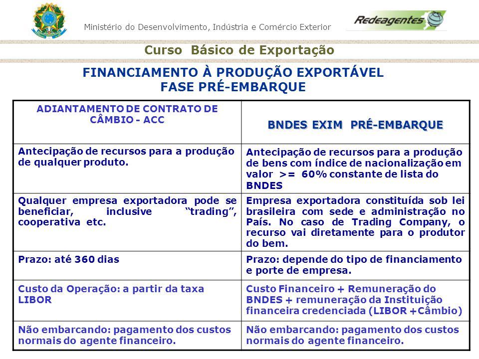 FINANCIAMENTO À PRODUÇÃO EXPORTÁVEL FASE PRÉ-EMBARQUE