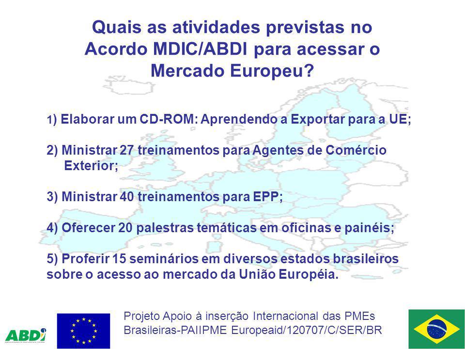 Quais as atividades previstas no Acordo MDIC/ABDI para acessar o