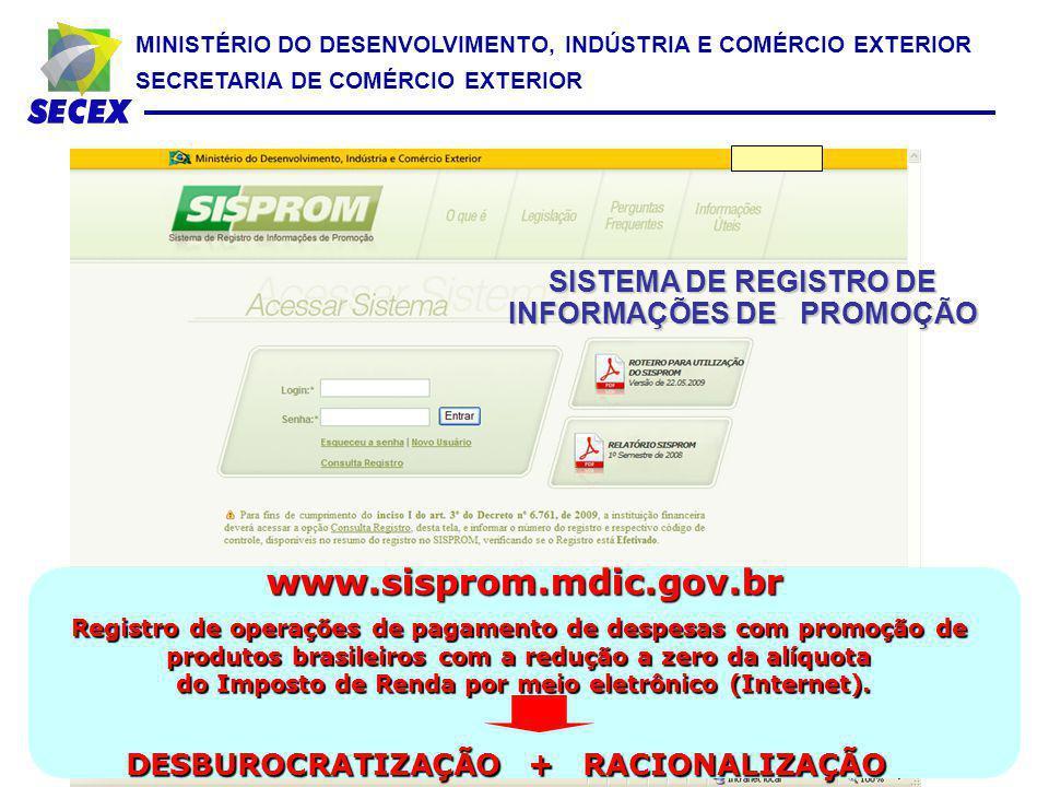 www.sisprom.mdic.gov.br SISTEMA DE REGISTRO DE INFORMAÇÕES DE PROMOÇÃO