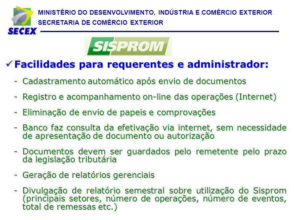 Facilidades para requerentes e administrador: