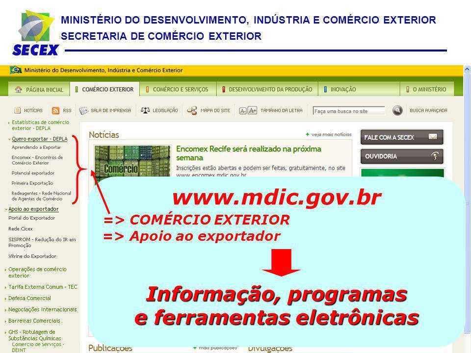 www.mdic.gov.br Informação, programas e ferramentas eletrônicas