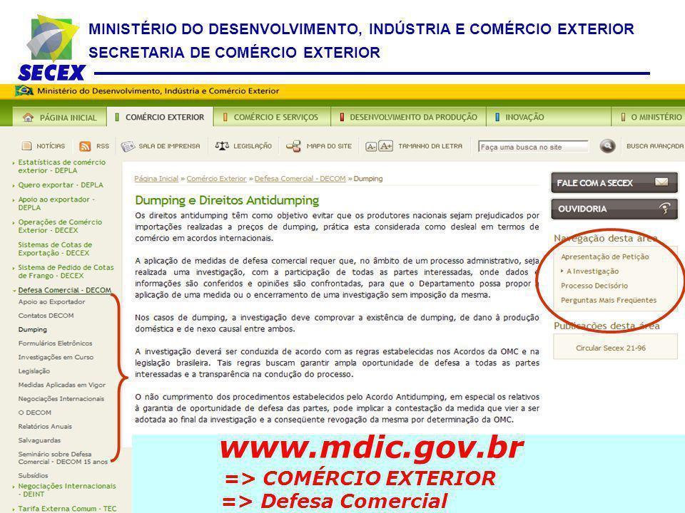 www.mdic.gov.br => COMÉRCIO EXTERIOR => Defesa Comercial