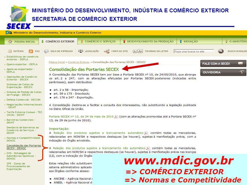 www.mdic.gov.br => COMÉRCIO EXTERIOR => Normas e Competitividade