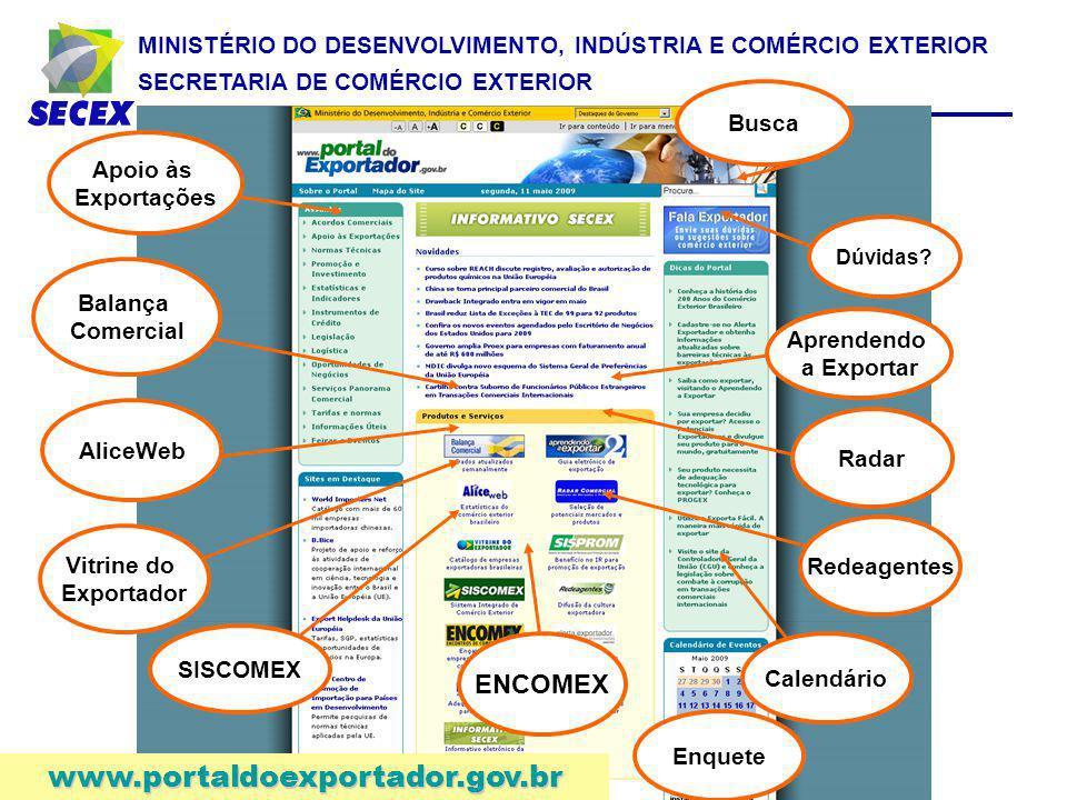 www.portaldoexportador.gov.br ENCOMEX Busca Apoio às Exportações