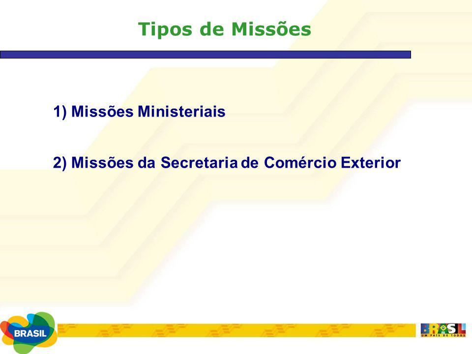 Tipos de Missões 1) Missões Ministeriais
