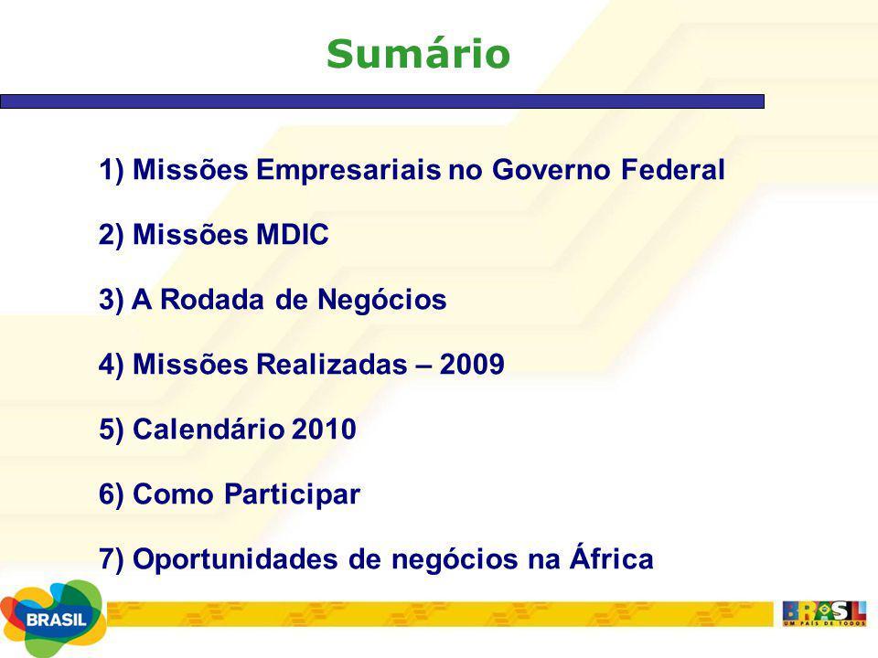 Sumário 1) Missões Empresariais no Governo Federal 2) Missões MDIC