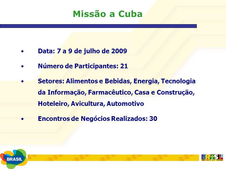 Missão a Cuba Data: 7 a 9 de julho de 2009 Número de Participantes: 21