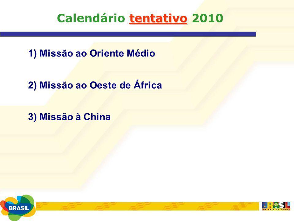 Calendário tentativo 2010 1) Missão ao Oriente Médio