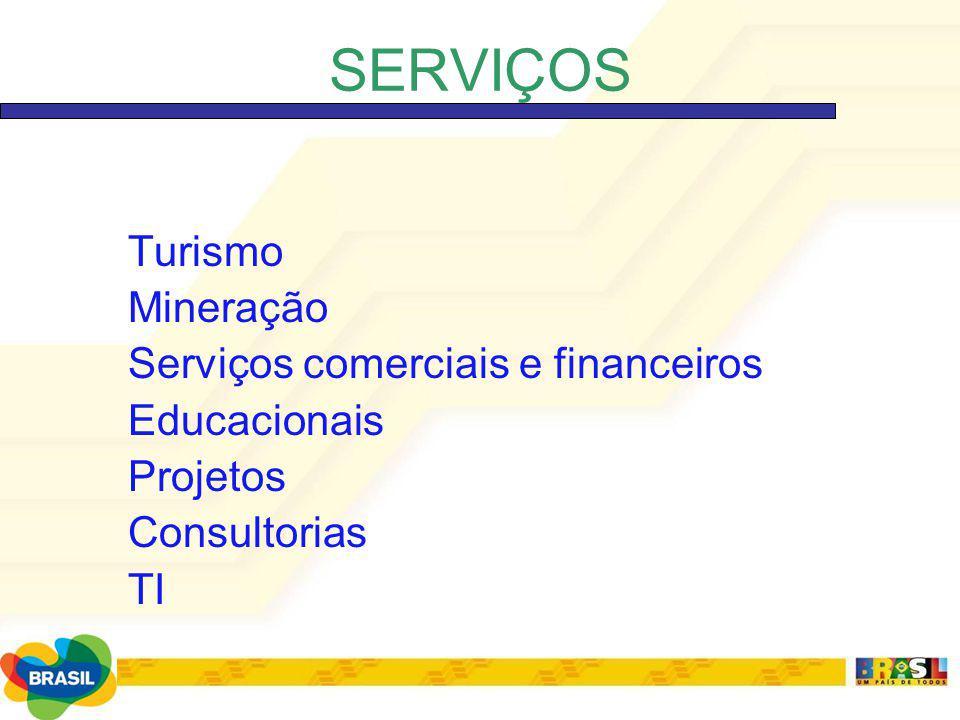 SERVIÇOS Turismo Mineração Serviços comerciais e financeiros
