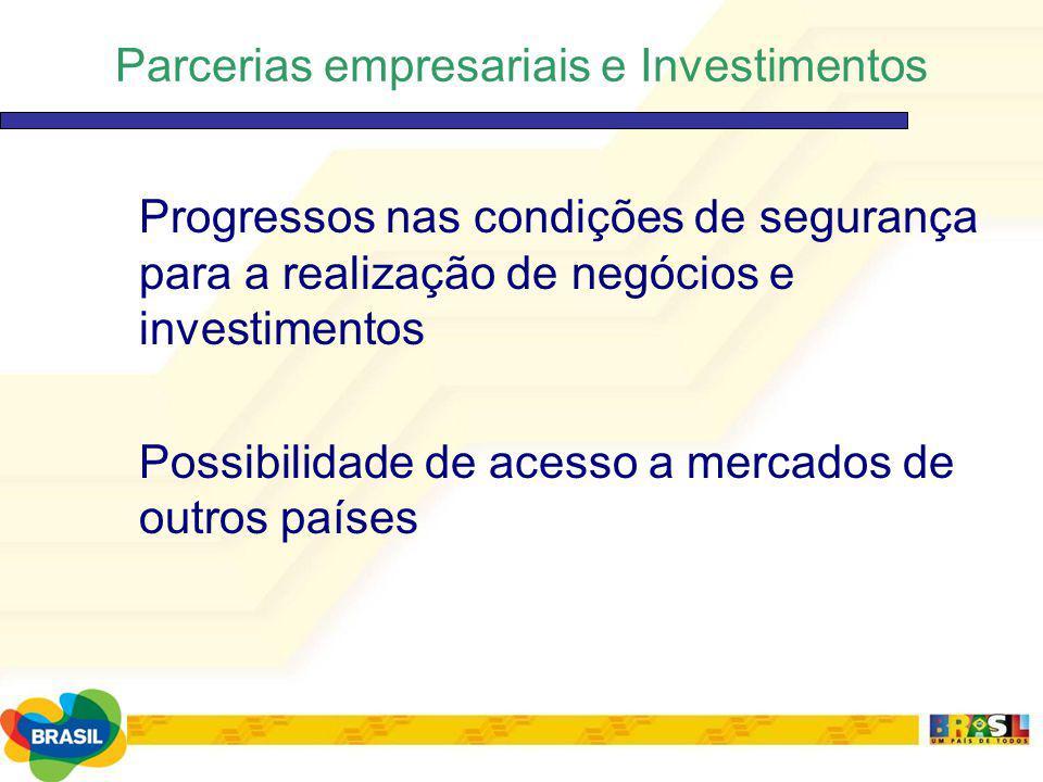 Parcerias empresariais e Investimentos