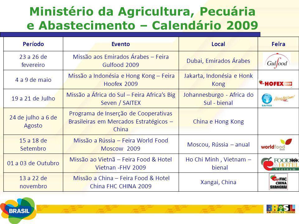 Ministério da Agricultura, Pecuária e Abastecimento – Calendário 2009