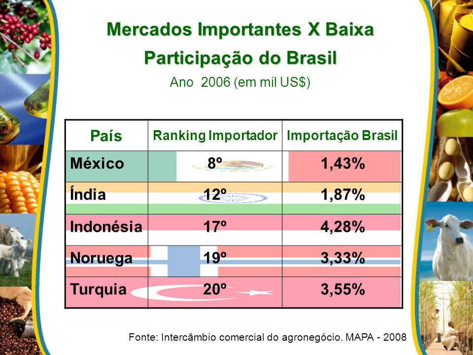 Mercados Importantes X Baixa Participação do Brasil Ano 2006 (em mil US$)