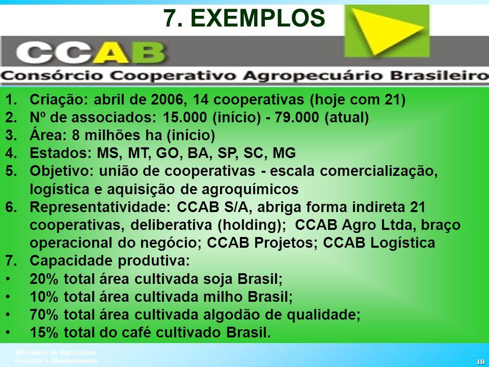 7. EXEMPLOS Criação: abril de 2006, 14 cooperativas (hoje com 21)