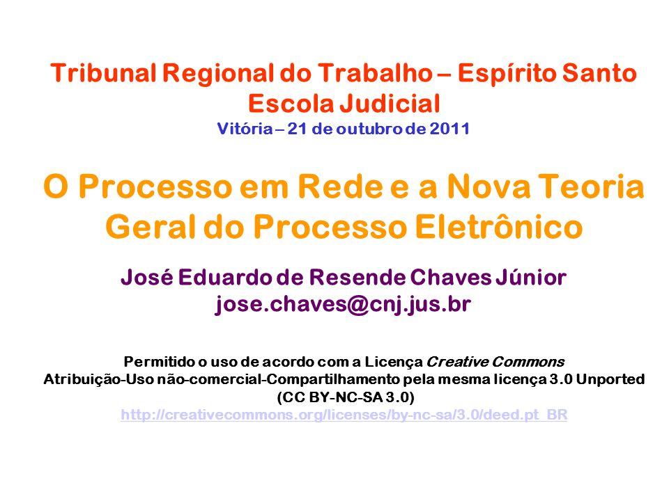 Tribunal Regional do Trabalho – Espírito Santo Escola Judicial Vitória – 21 de outubro de 2011 O Processo em Rede e a Nova Teoria Geral do Processo Eletrônico José Eduardo de Resende Chaves Júnior jose.chaves@cnj.jus.br Permitido o uso de acordo com a Licença Creative Commons Atribuição-Uso não-comercial-Compartilhamento pela mesma licença 3.0 Unported (CC BY-NC-SA 3.0) http://creativecommons.org/licenses/by-nc-sa/3.0/deed.pt_BR
