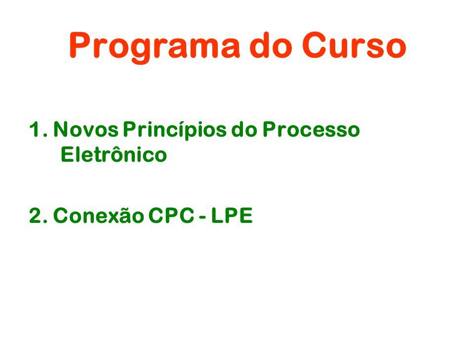 Programa do Curso 1. Novos Princípios do Processo Eletrônico