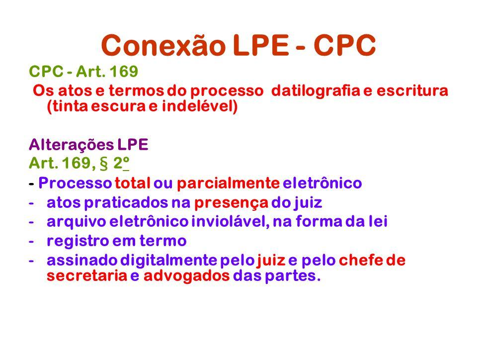 Conexão LPE - CPC CPC - Art. 169