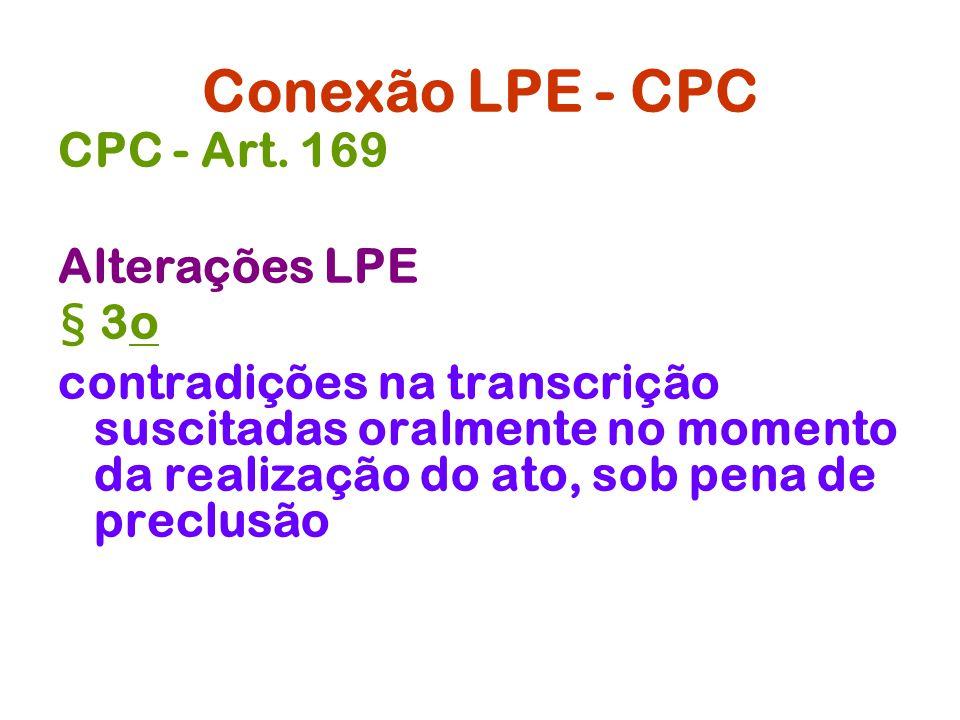 Conexão LPE - CPC CPC - Art. 169 Alterações LPE § 3o
