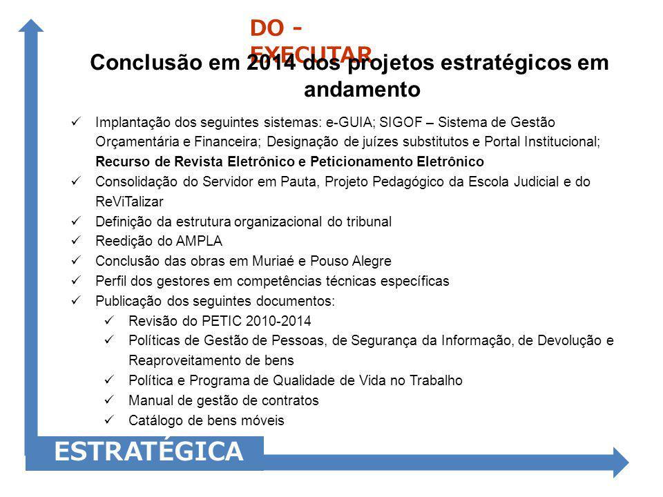Conclusão em 2014 dos projetos estratégicos em andamento