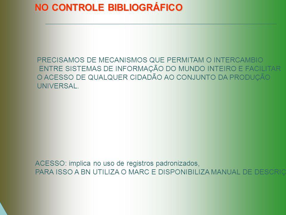 NO CONTROLE BIBLIOGRÁFICO