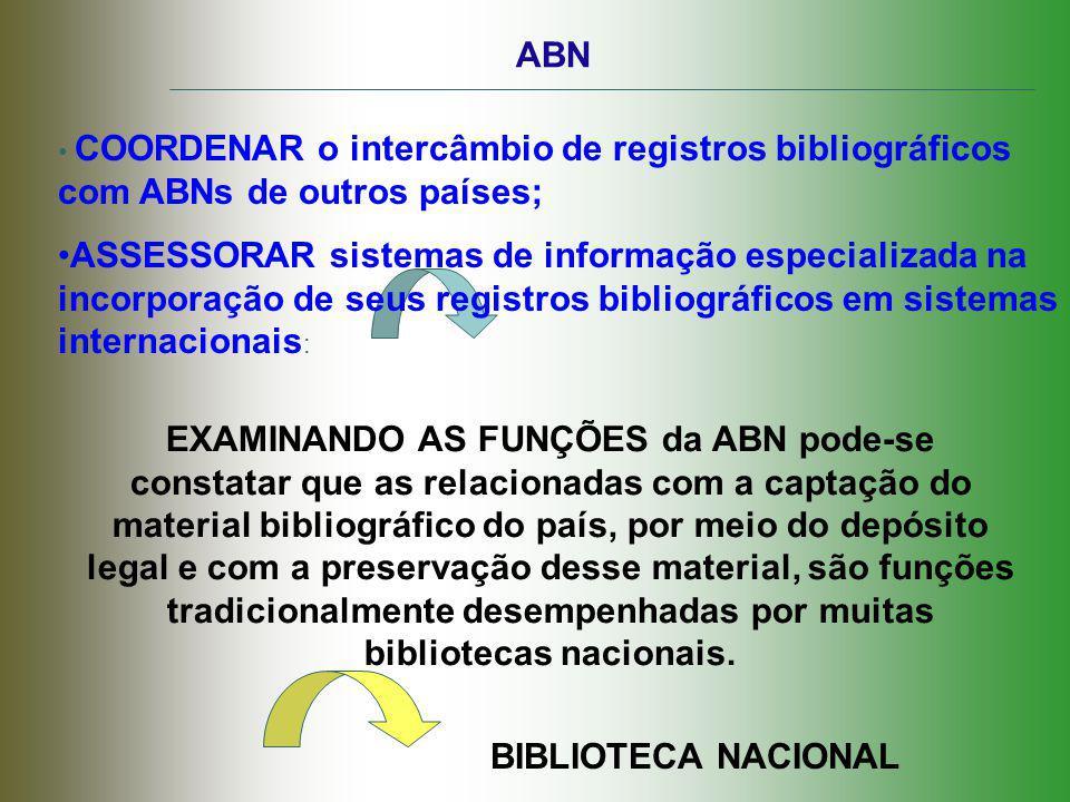 ABN COORDENAR o intercâmbio de registros bibliográficos com ABNs de outros países;