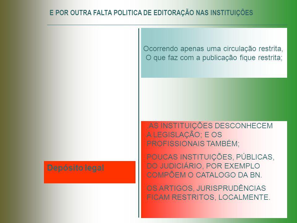E POR OUTRA FALTA POLITICA DE EDITORAÇÃO NAS INSTITUIÇÕES