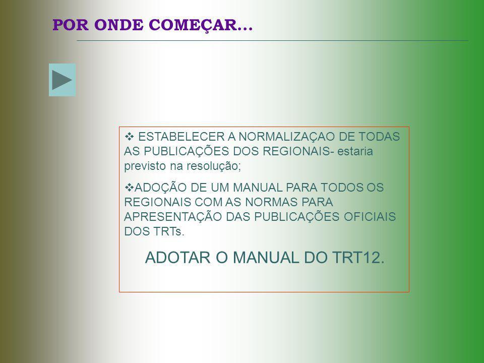 POR ONDE COMEÇAR... ADOTAR O MANUAL DO TRT12.