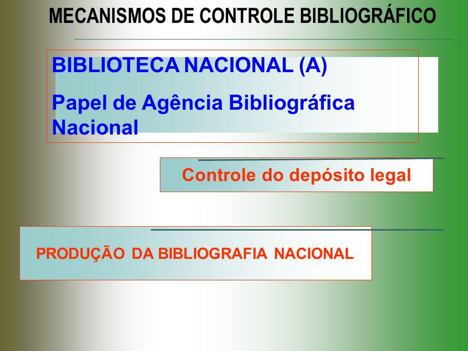 Controle do depósito legal PRODUÇÃO DA BIBLIOGRAFIA NACIONAL
